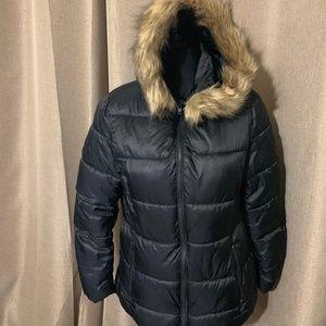 Zara Girls black puffer jacket with hood